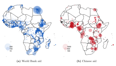 Figure 2. Spatial distribution of World Bank and Chinese development aid projects