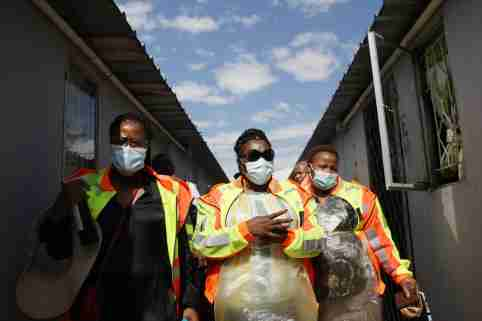 DURBAN, SOUTH AFRICA- Community health workers operate a mobile health bus in Durban, South Africa on April 16, 2020. Health Minister Zikalala officially launched the mass detection campaign for Covid-19 coronavirus, going door to door all households in the country. (NO RESALE)