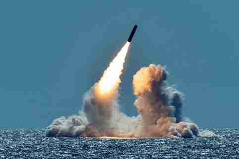 An unarmed Trident II D5 missile is test-launched from the Ohio-class U.S. Navy ballistic missile submarine USS Nebraska off the coast of California, U.S. March 26, 2018. Picture taken March 26, 2018. U.S. Navy/Mass Communication Specialist 1st Class Ronald Gutridge/Handout via REUTERS.   ATTENTION EDITORS - THIS IMAGE WAS PROVIDED BY A THIRD PARTY