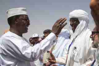 """File photo - Chad, Ennedi, Amdjarass, arrival of President Idriss Deby with his wife in his native village and official welcome at the airport. Chad's President Idriss Deby has died while visiting troops on the front line of a fight against northern rebels, an army spokesman said on Tuesday, the day after Deby was declared the winner of a sixth term in office. Deby's campaign said on Monday that he was headed to the front lines to join troops battling """"terrorists"""". Photo by Pascal Avenet/ABACAPRESS.COM"""