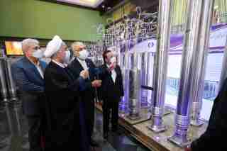 Iranian President Hassan Rouhani reviews Iran's new nuclear achievements during Iran's National Nuclear Energy Day in Tehran, Iran April 10, 2021. Iranian Presidency Office/WANA (West Asia News Agency)/Handout via REUTERS ATTENTION EDITORS - THIS IMAGE HAS BEEN SUPPLIED BY A THIRD PARTY.