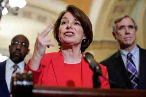 Senator Amy Klobuchar (D-MN) speaks to the media