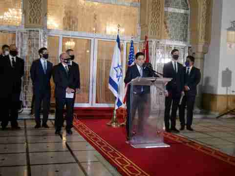 Moroccan Foreign Minister Nasser Bourita speaks during a visit by Israeli envoys to Rabat, Morocco, December 22, 2020. Picture taken December 22, 2020. REUTERS/Shereen Talaat