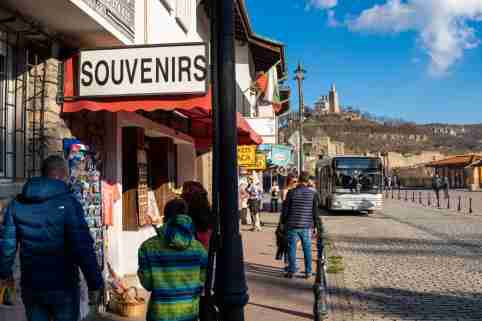 Veliko Tarnovo Bulgaria 1 January 2021, souvenir and ticket office for medieval castle new years day walk