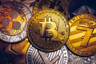 Set of cryptocurrencies with Bitcoin, Etherium, Ripple, Litecoin. Cryptocurrencys new digital money.