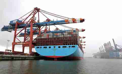 """Container ship """"Evelyn Maersk"""" is loaded during snowfall at a container terminal in a harbour amid the coronavirus disease pandemic."""