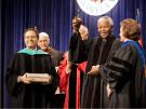 Nelson Mandela, Shibley Telhami, and Jehan Sadat at the Sadat Lecture at the University of Maryland at College Park, November 14, 2001.