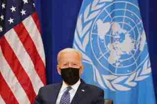 U.S. President Joe Biden meets with United Nations Secretary-General Antonio Guterres at the 76th Session of the U.N. General Assembly in New York City, U.S., September 20, 2021. REUTERS/Kevin Lamarque
