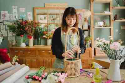 Florist making an arrangement.