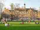 College campus with students
