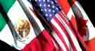 Rendering of the flags of Mexico, the United States, and Canada