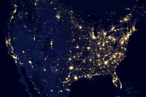 A NASA satellite image shows the United States, Mexico and Canada at night in this composite image.