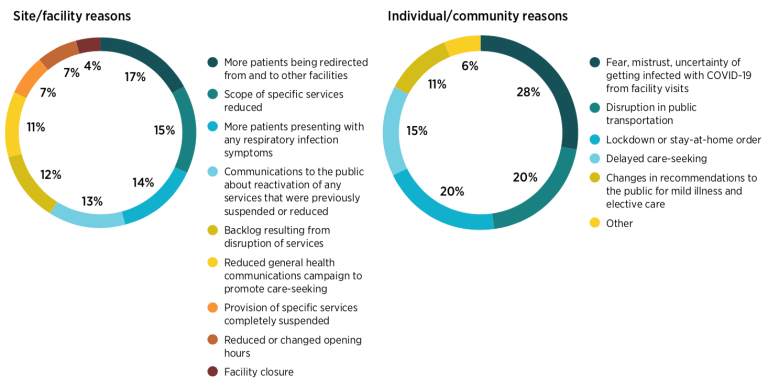 Figure 1. Reasons for disruption to health care services from the perspective of medical facilities and patients