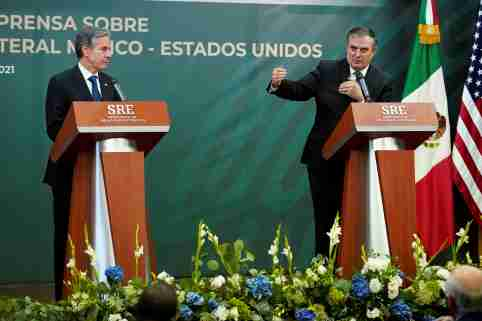 Mexico's Foreign Secretary Marcelo Ebrard speaks during a joint news conference with U.S. Secretary of State Antony Blinken at the Mexican Secretariat of Foreign Affairs in Mexico City, Mexico, October 8, 2021. Patrick Semansky/Pool via REUTERS