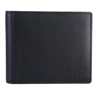 RFID Blocking Bifold Genuine Leather Slim Wallet For Men With ID Window | Black