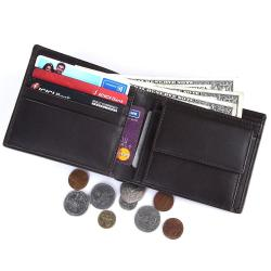 RFID Blocking Bi-fold Genuine Leather Wallet For Men With Coin Pocket | Dark Brown