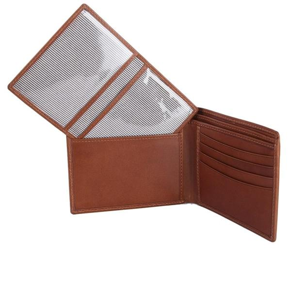 RFID Blocking Bifold Genuine Leather Wallet For Men With Removable ID Windows   Tan