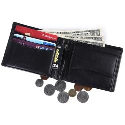 RFID Blocking Bifold Genuine Leather Wallet For Men With Coin Pocket And Chain in the Middle | Black