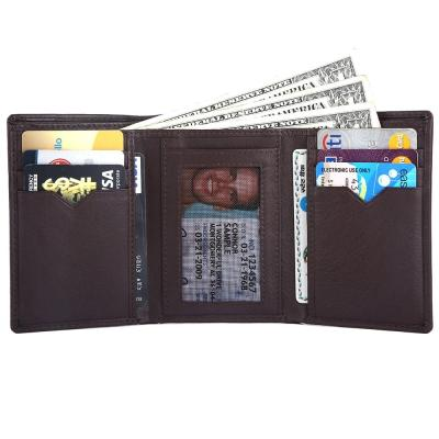 RFID Blocking Trifold Genuine Leather Wallet For Men With ID Window | Dark Brown