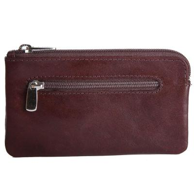 Genuine Leather Pouch With Key Chain | Brown