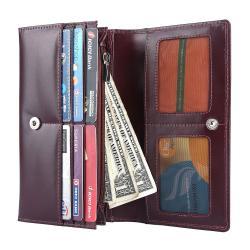 RFID Blocking Genuine Leather Clutch Wallet for Women   Maroon