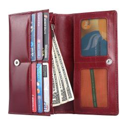 RFID Blocking Genuine Leather Clutch Wallet for Women   Blood Red
