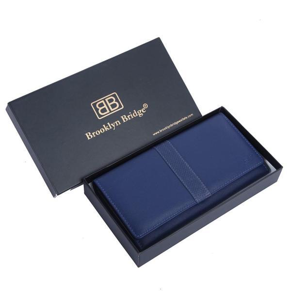 RFID Blocking Genuine Leather Clutch Wallet for Women | Blue