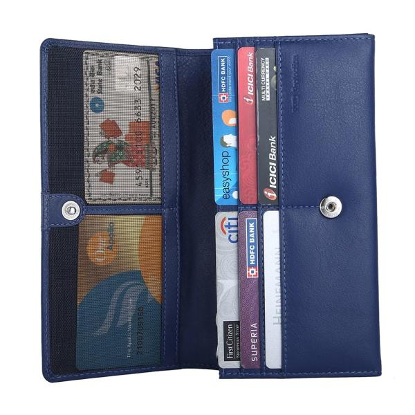 RFID Blocking Genuine Leather Clutch Wallet for Women   Blue