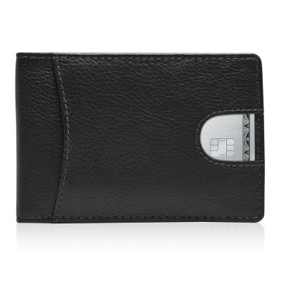 RFID Blocking Bifold Genuine Leather Minimalist Money Clip Wallet For Men | Black