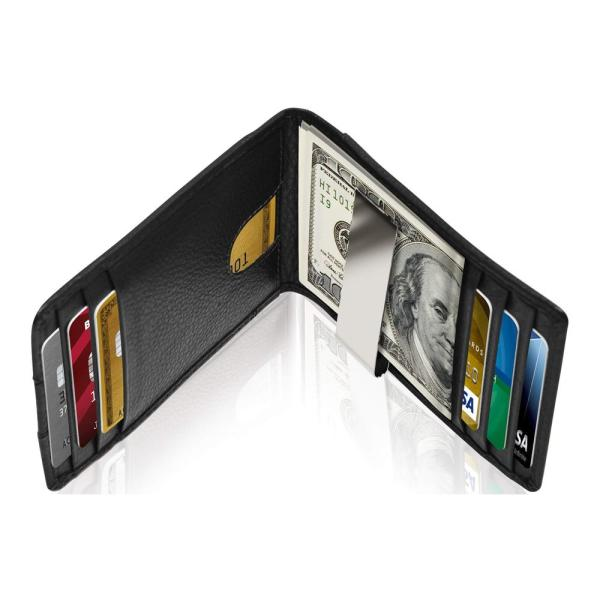 RFID Blocking Bifold Genuine Leather Minimalist Money Clip Wallet For Men | Black