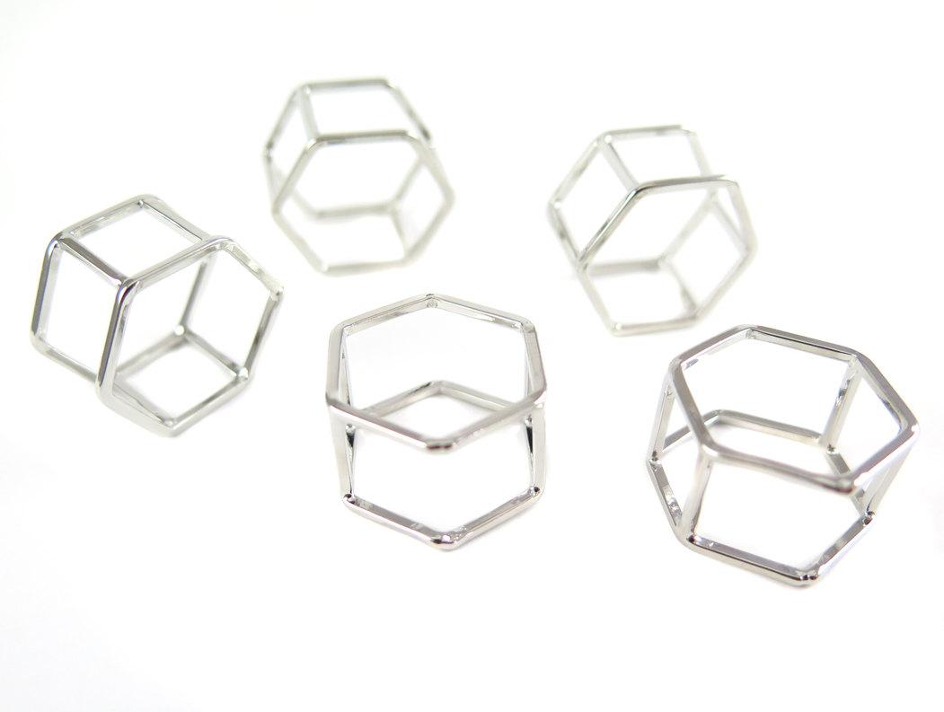 Geometric Square Wire Hexagon Ring