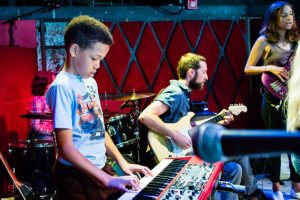 BMF teachers playing with students on a gig at Rockwood Music Hall