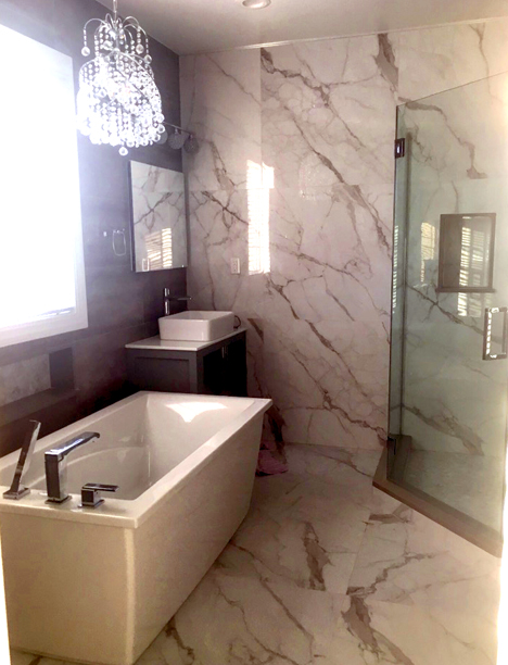large format tile in a small bathroom