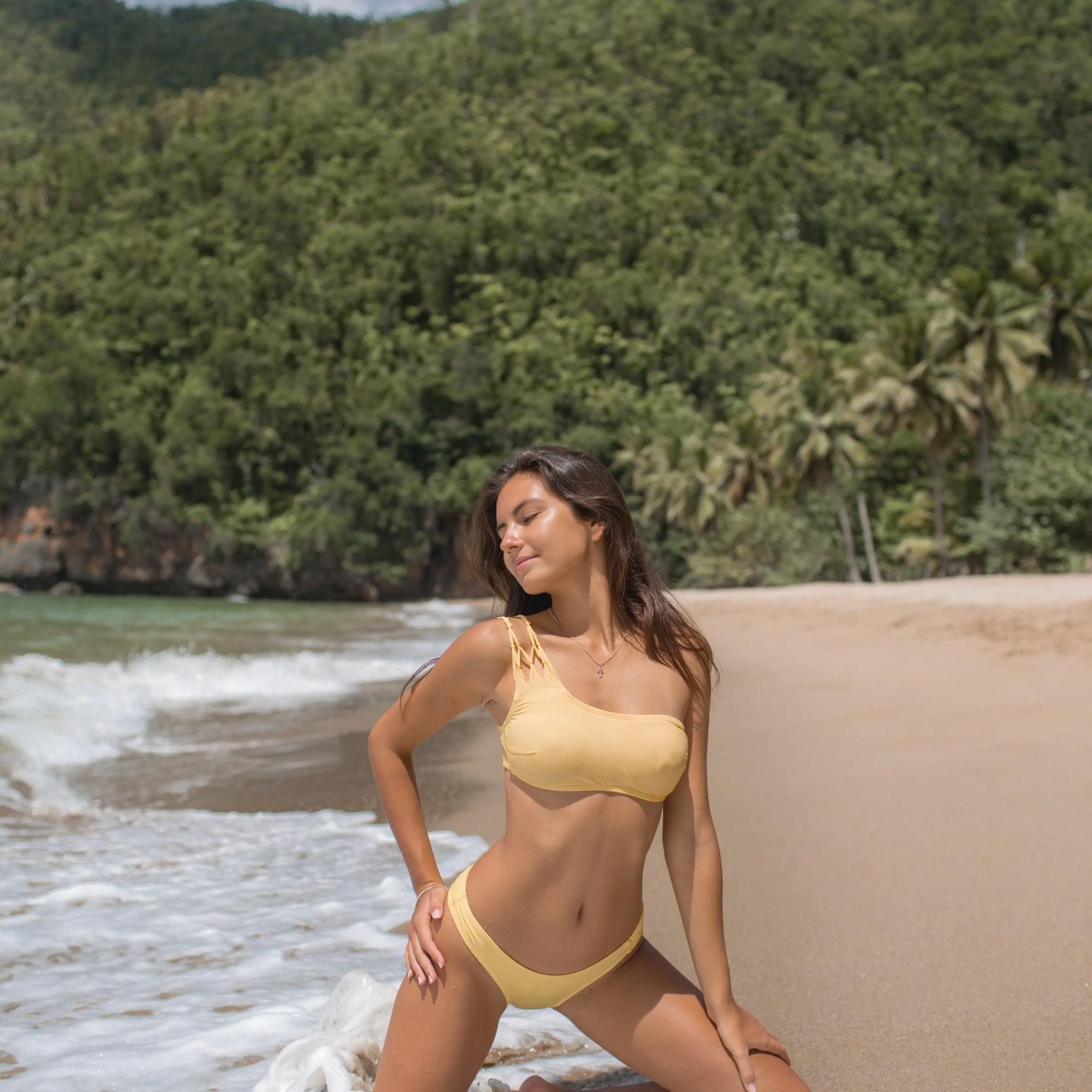 Anastasiia Boivka Yellow Bikini Beach