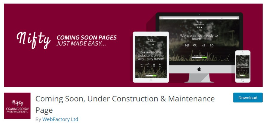 Coming Soon, Under Construction & Maintenance Page