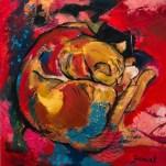 Chat sur fond rose et rouge