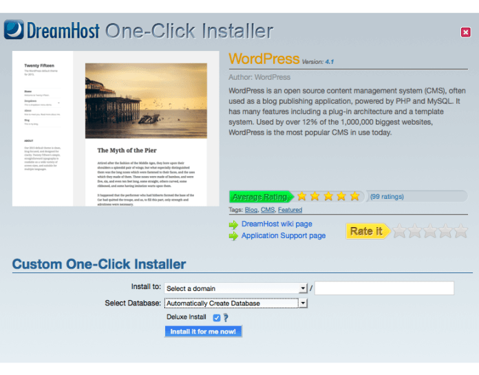 wordpress installation on dreamhost