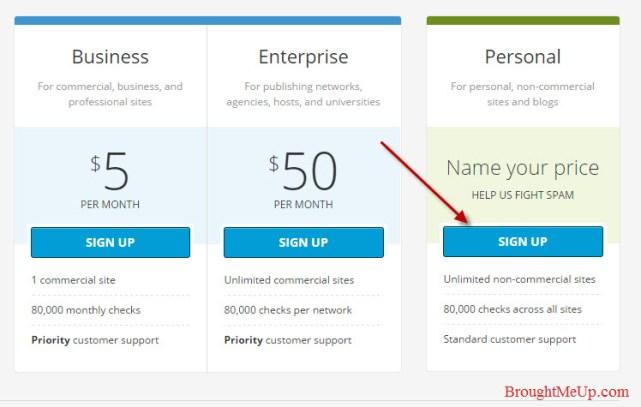 get free akismet key in akismet plans and pricing