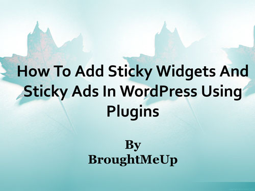add sticky ads and sticky widgets in wordpress using plugins