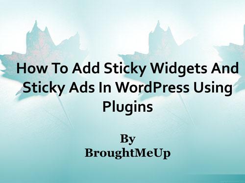 add sticky ads and sticky widgets in wordpress using plugins