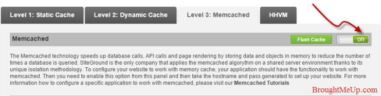 enable siteground memcached setting from cpanel