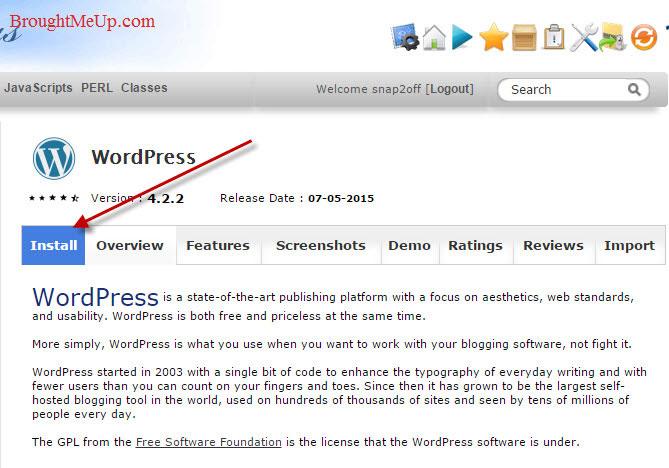 installing wordpress using softacoulous