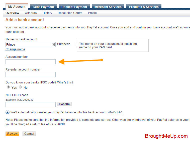 link bank account to PayPal account