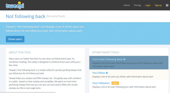 Tweepi Flush twitter tool to unfollow non followers