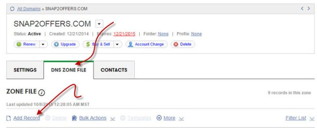 add dns zone record for custom domain setup