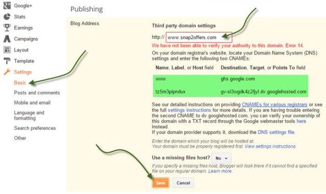 custom domain in Blogspot godaddy