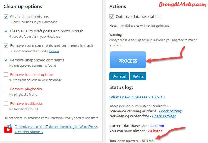 delete post revisions,comments spams WP-Optimize