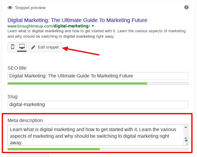 editing meta description