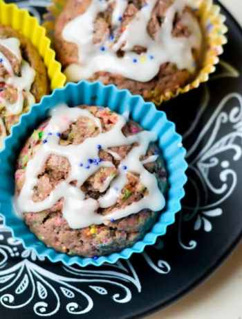 Get in the kitchen for a fun muffin recipe you would almost think is a cupcake! Birthday Cake muffins are a treat for morning food. The typical breakfast is no longer. Enjoy!