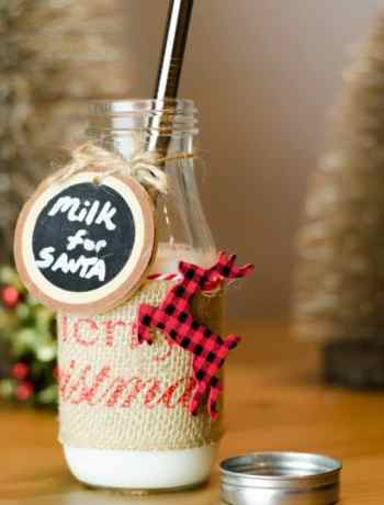 This DIY Santa Milk Jug craft is perfect for Christmas, setting out milk and cookies for Santa. Under $5, this how to is easy and adorable. A fun addition by any fireplace this Holiday Season.